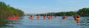 Civil Engineering kayak trip on West Branch near Milton